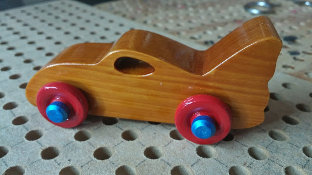 Wooden Toy Car - Play Pal - Bat Car - Shellac - Red Wheels - Blue Hubs