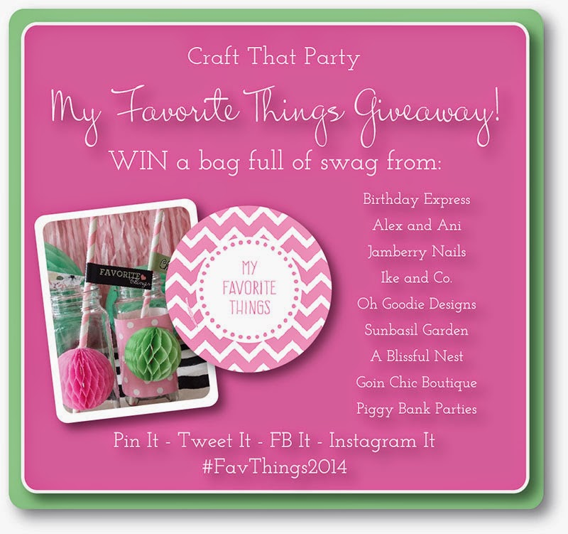 Design Your Own Swag Contest Ends Today: Craft That Party: Favorite Things 2014 Swag Bag Giveaway