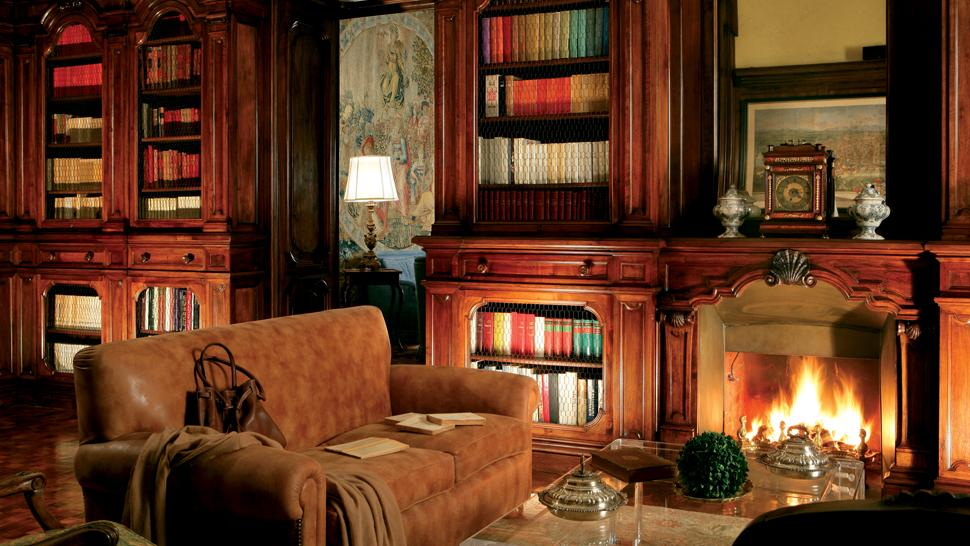 home-library-fireplace