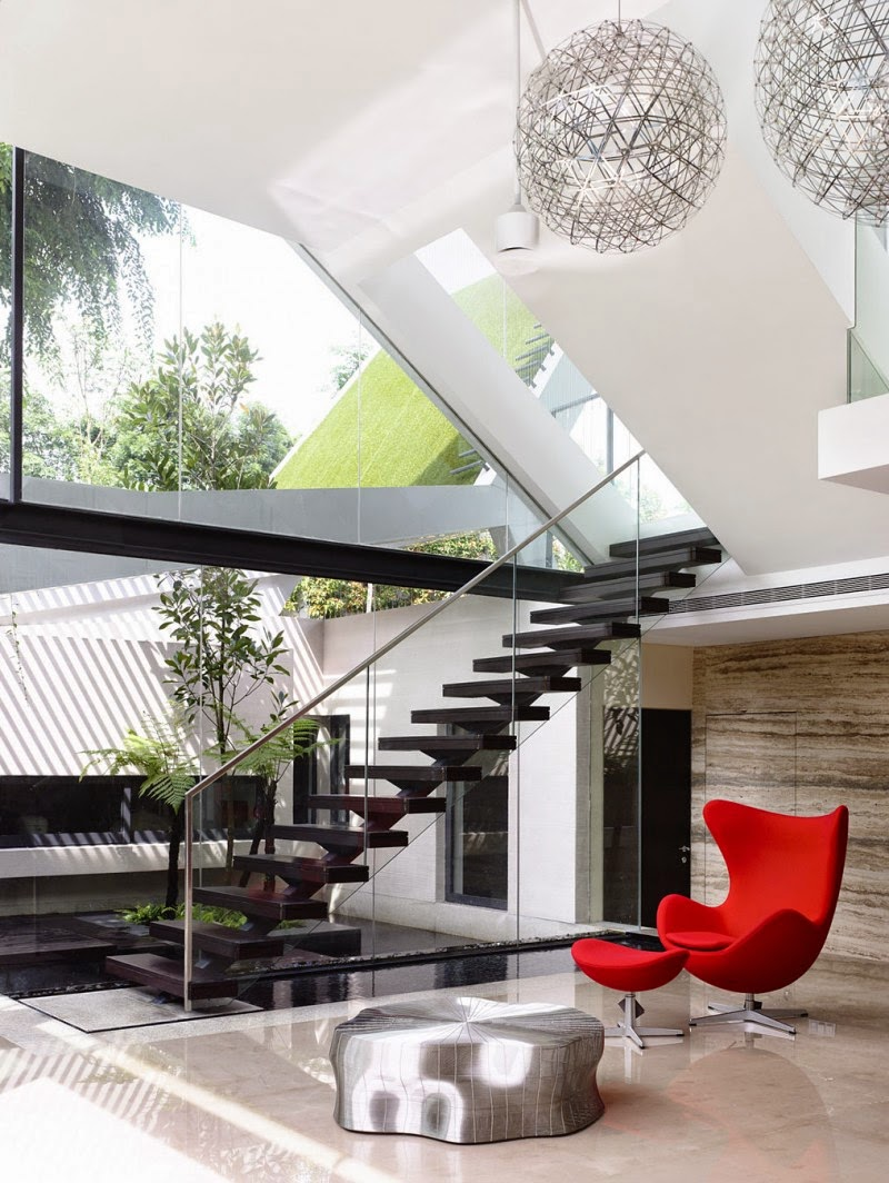Singapore Contemporary House - interior design - beautiful color combination of chair, stairs, floor, wall, and landscape