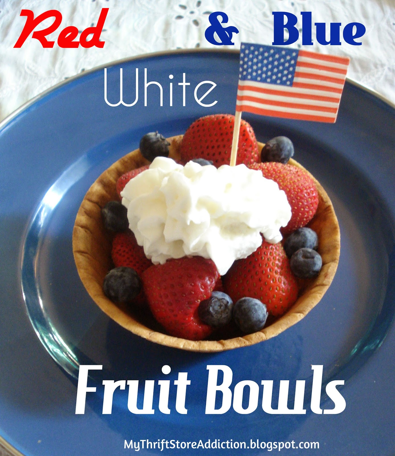 Red white and blue fruit bowls