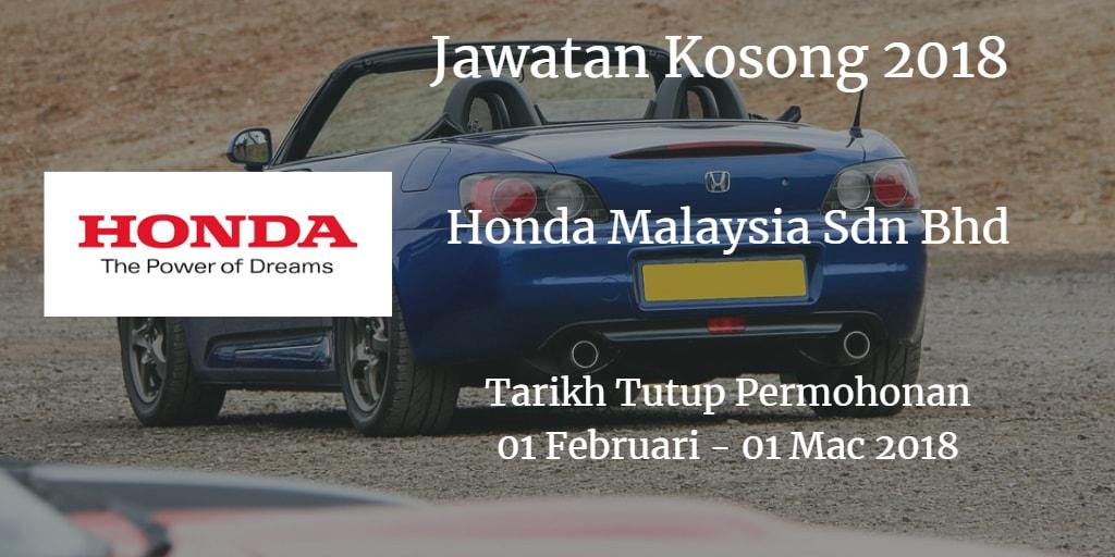 Jawatan Kosong Honda Malaysia Sdn Bhd 01 Februari - 01 Mac 2018