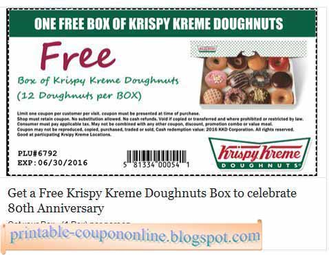 picture about Krispy Kreme Printable Coupons titled Printable Coupon codes 2019: Krispy Kreme Discount coupons