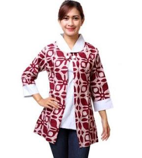 Desain baju batik atasan wanita muda lengan panjang
