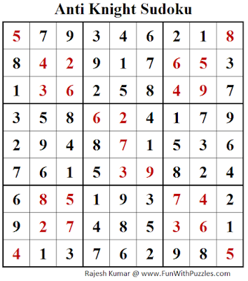 Anti Knight Sudoku (Fun With Sudoku #216) Puzzle Answer