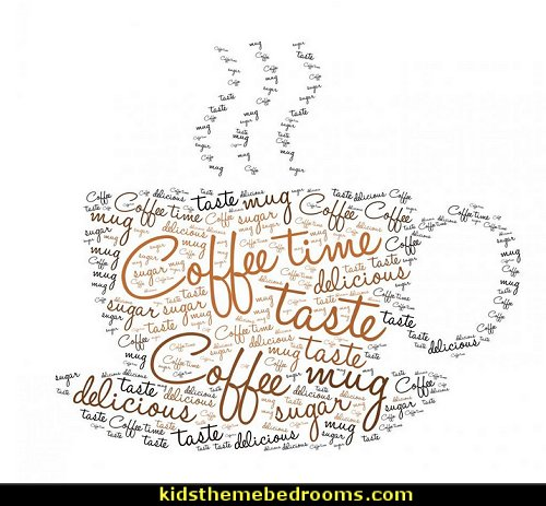 Coffee Time Tag Cloud Wall Decal Peel and Stick Typographic Graphics