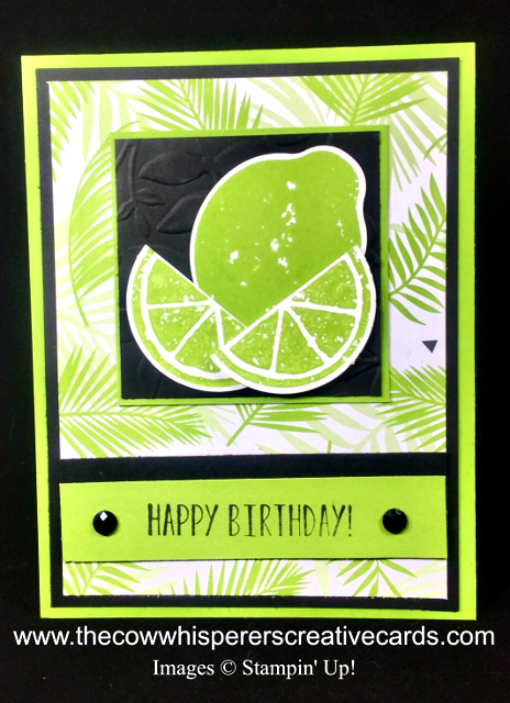 Card, Lemon Zest, Tropical Escape, Lemon Builder Punch, Layered Leaves Embossing Folder