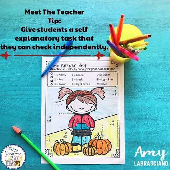 Do you sometimes feel overwhelmed with parent questions and student conversations on Meet the Teacher Night? Try putting out a simple activity that will keep students engaged while you work the room and answer everyone's questions. Add bonus time by having them check their work before they bring it to you.