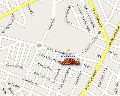 com llegar al Hotel Holiday Inn Express - Directorio de hoteles hostales en quito Ecuador