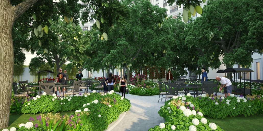 Vườn dạo cây xanh chung cư The Emerald