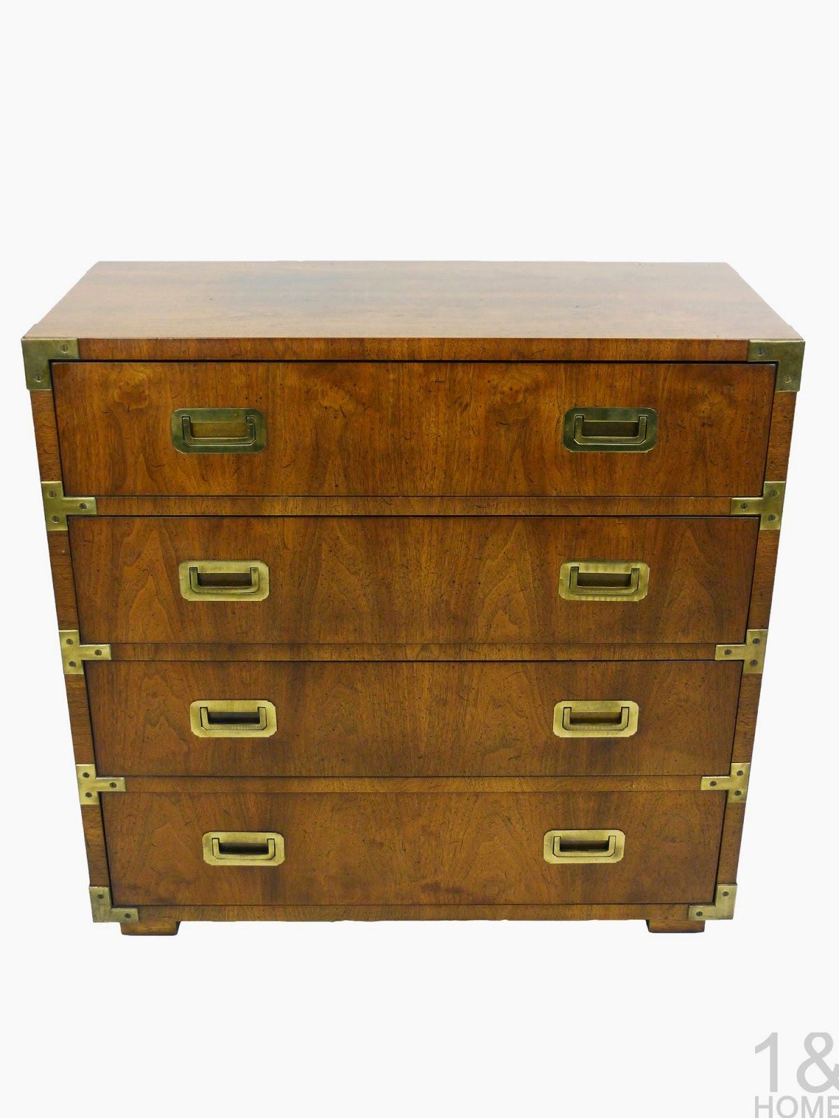 Vintage Henredon Walnut Campaign Chest Brass Handles