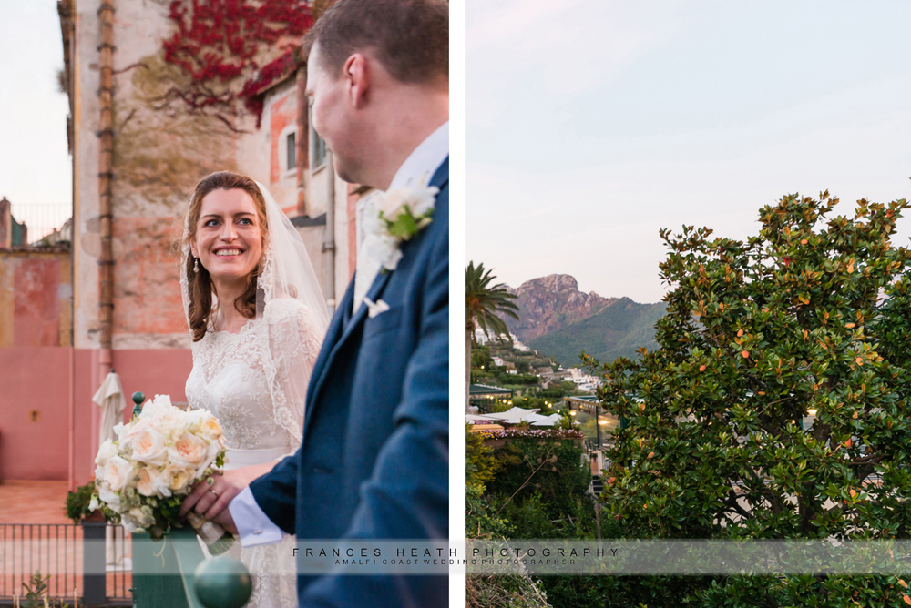 Wedding portrait of bride and Ravello scenery