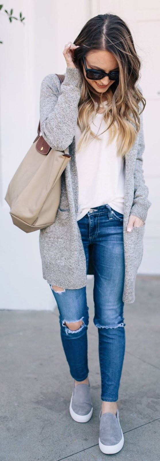 fall outfit of the day | grey cardigan + top + ripped jeans + bag