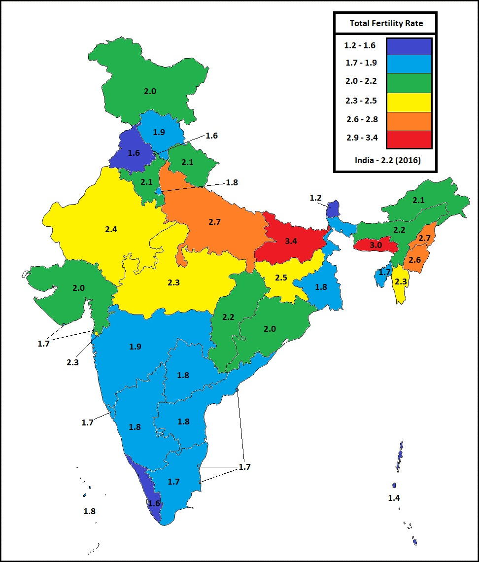 fertility rate in indian states in 2016 fig 3