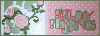 Rose trellis Birthday Blessings sentiment