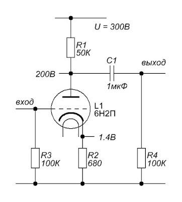 Резистивный каскад на лампе 6Н2П