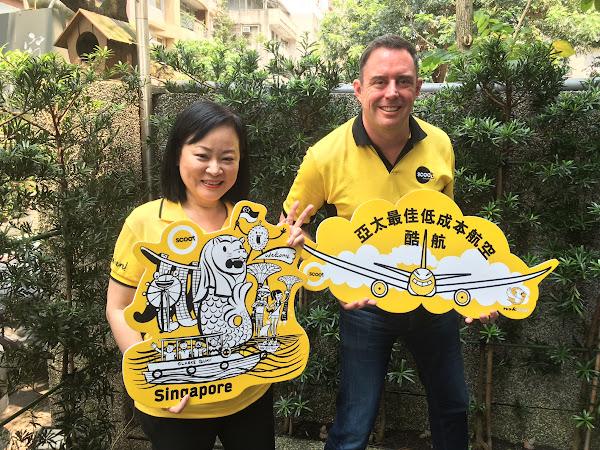 酷航業務總監Steven Greenway(右)、酷航台灣區 總經理陳美至(左)。(圖片來源:詹子嫻攝)