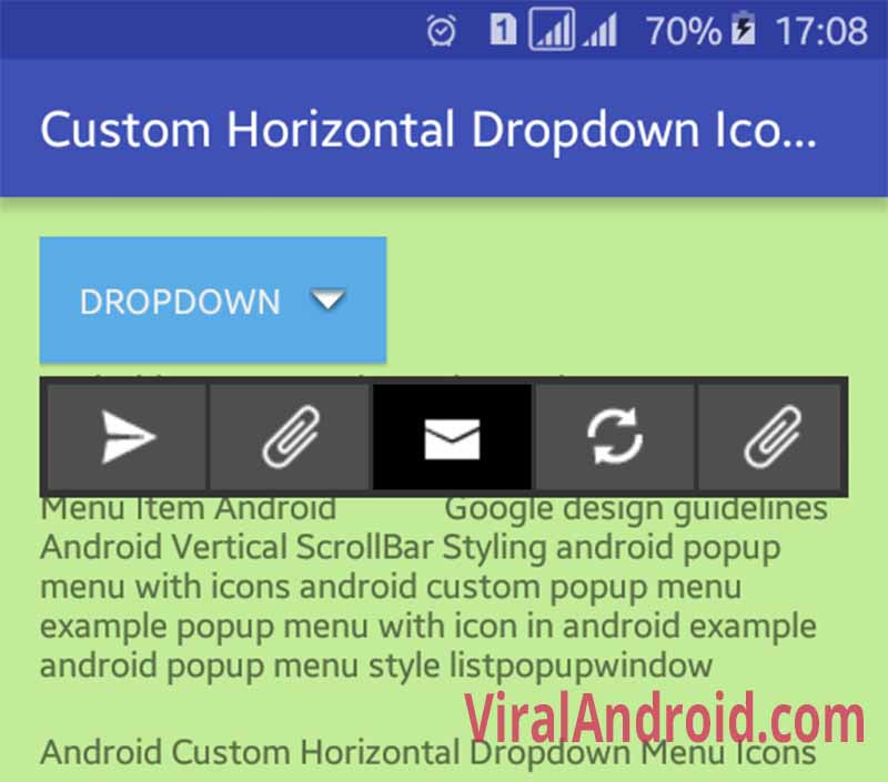 Android Custom Horizontal Icons Menu | Viral Android