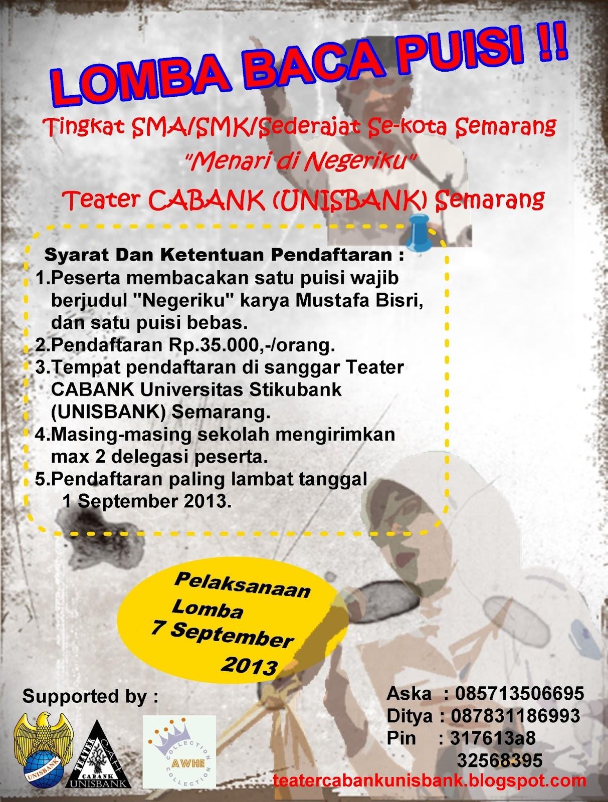 Keluarga Besar Teater Cabank Lomba Baca Puisi 2013