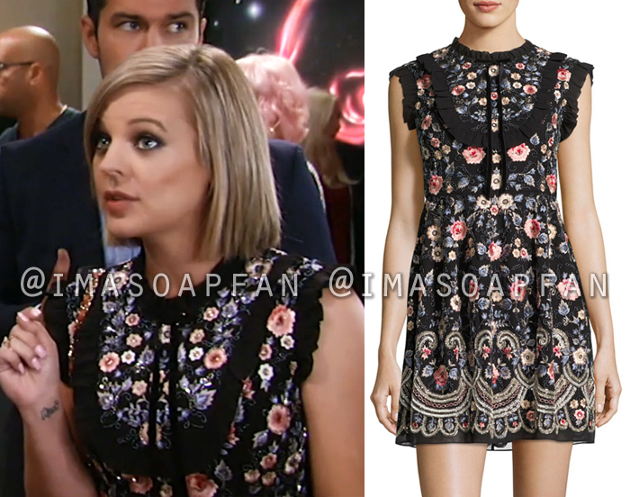 Maxie Jones, Kirsten Storms, Floral Embroidered Black Dress, General Hospital, GH