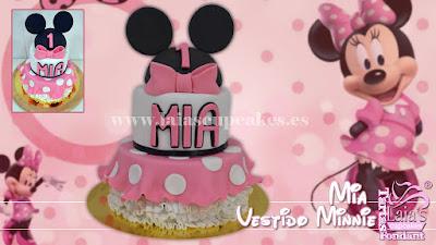 Tarta de fondant personalizada vestido de minnie mouse Laia's Cupcakes Puerto Sagunto