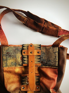 Strap Detail Leather and Fabric Bag