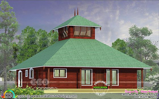 1372 square feet traditional 3 bedroom Kerala home