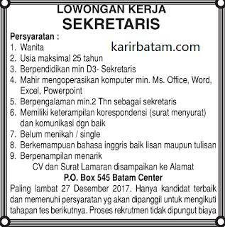 Lowongan Kerja PO BOX 545 Batam Centre