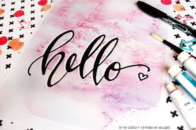 hand lettering, free watercolor print, watercolor, creative, hello