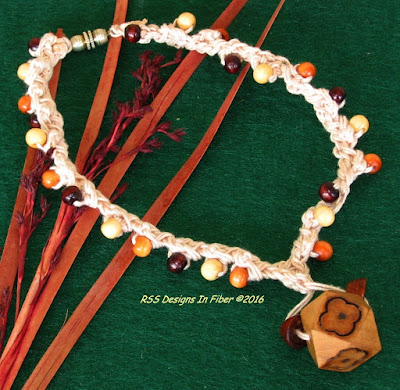 Wood Bead Choker Necklace - Handmade by RSS Designs In Fiber