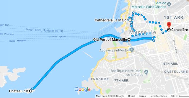 Mapa do primeiro dia em Marselha