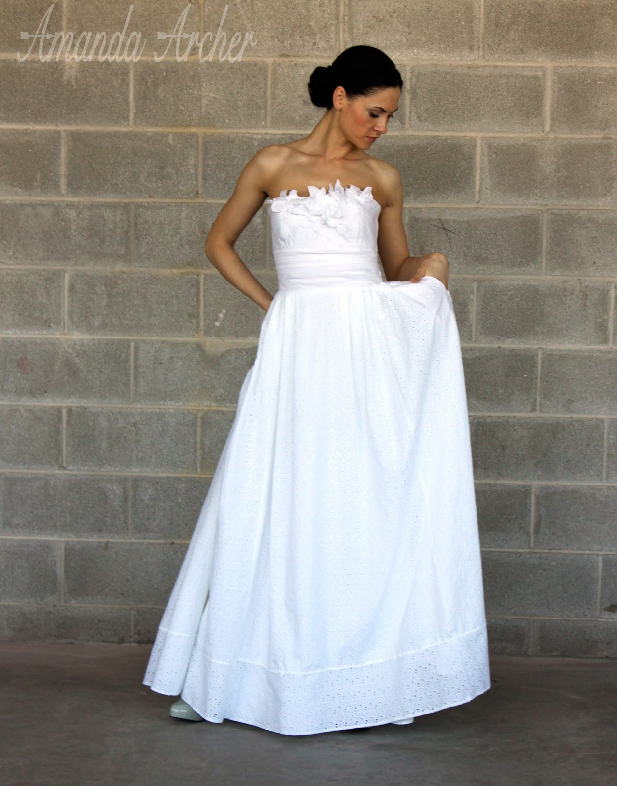 Independent Designer White Rose Lace Gown