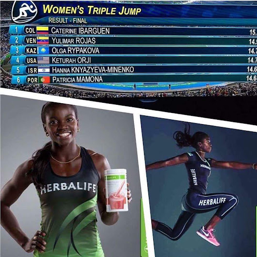 Herbalife sponsored athlete Caterine Ibarguen smashed the triple jump