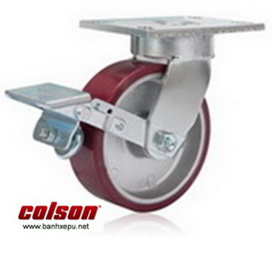 Bánh xe PU xoay khóa chịu lực 680kg càng Impak Colson | 6-8279-939BRK1 banhxepu.net