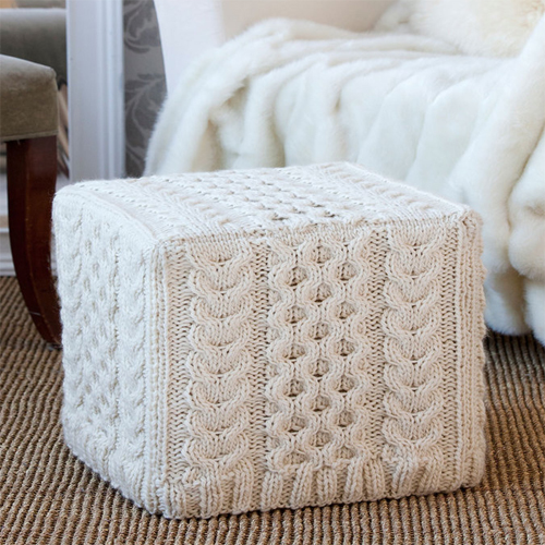 Cabled Ottoman Cover - Free Pattern