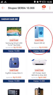 memilih harga 10ribu dari aplikasi shopee