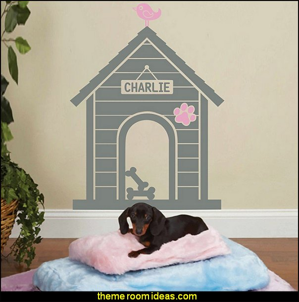 Modern Dog House Indoor: Custom Dog Name Sign Wall Decal