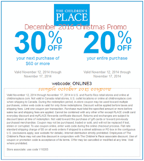 Childrens Place coupons for december 2016