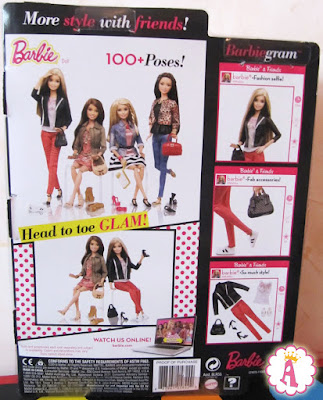 Фото коробки сзади со стильными шарнирными барби 2014 года