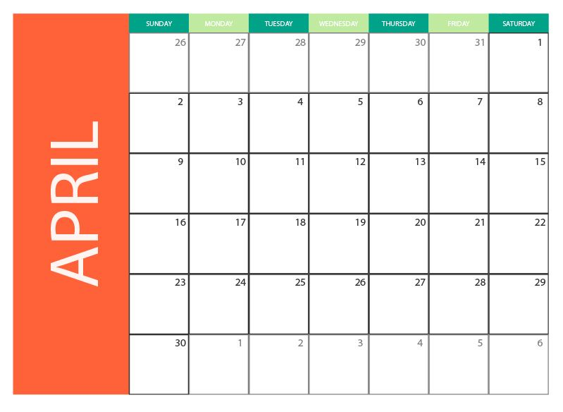 colored april 2017 calendar template free vector 2 2017 april calendar ...