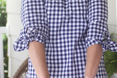 Butterick 6378 and sleeves from McCall's 7543 using IndieSew gingham close-up of ties