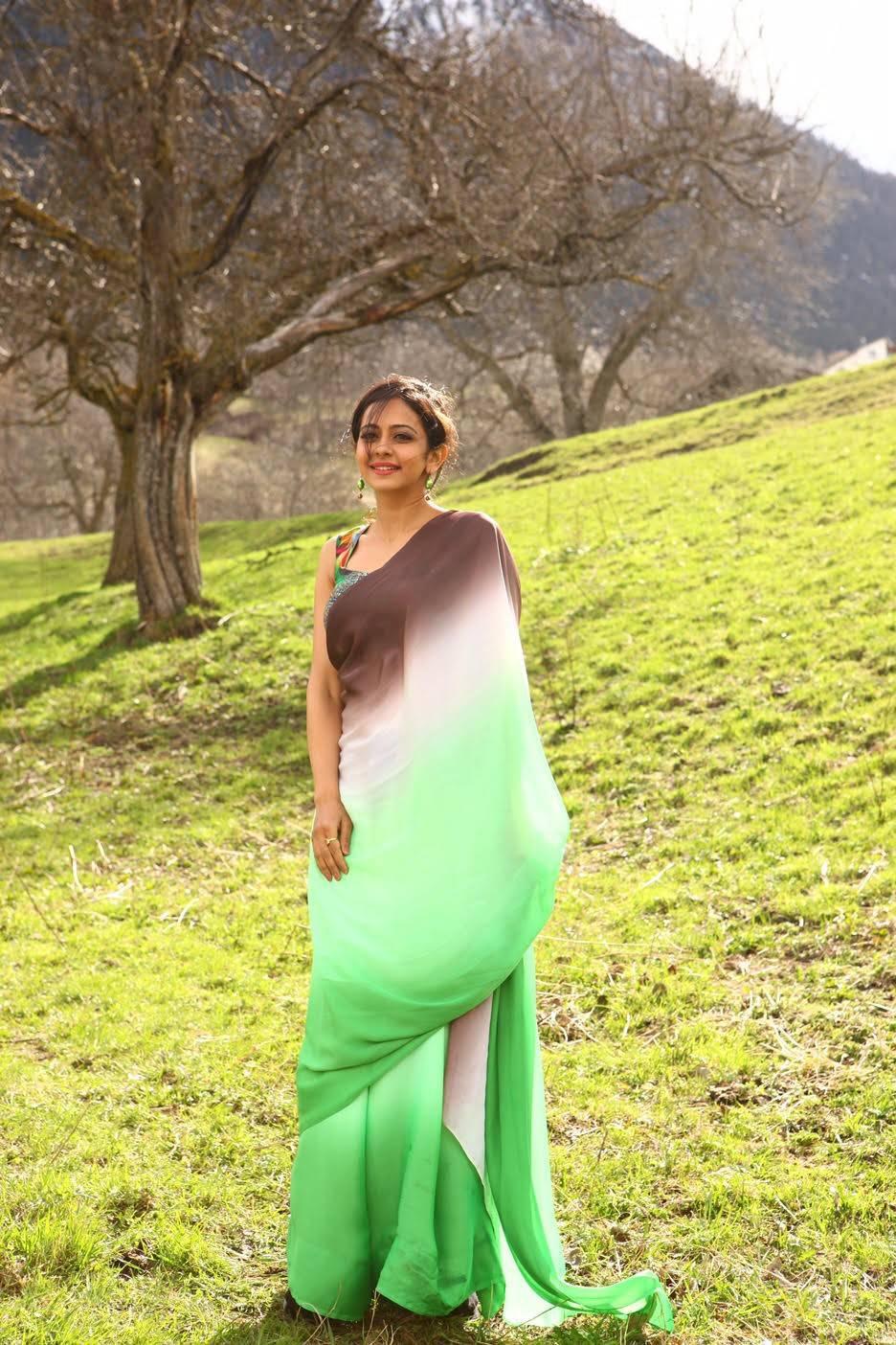 Gorgeous Indian Model Rakul Preet Singh Photos In Green Saree