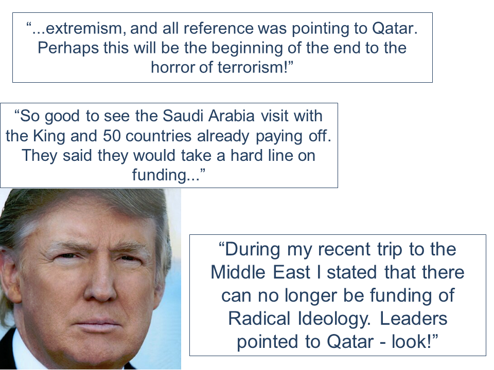 "A series of tweets that came from U.S. President Donald Trump appears to be taking side with Saudi Arabia and other countries in the Gulf that unanimously severed diplomatic ties with Qatar after its alleged support to radical extremists, which, Qatar  has already denied. Trumps tweets on Tuesday said that his visit in Saudi Arabia has paid-off. He also said that it could be the end of terrorism after Qatar has been identified to be allegedly funding radical ideology. So good to see the Saudi Arabia visit with the King and 50 countries already paying off. They said they would take a hard line on funding... — Donald J. Trump (@realDonaldTrump) June 6, 2017 ...extremism, and all reference was pointing to Qatar. Perhaps this will be the beginning of the end to the horror of terrorism! — Donald J. Trump (@realDonaldTrump) June 6, 2017 During my recent trip to the Middle East I stated that there can no longer be funding of Radical Ideology. Leaders pointed to Qatar - look! — Donald J. Trump (@realDonaldTrump) June 6, 2017   The row has been triggered by Qatar giving in to the ransom demand of Shia extremists amounting to  $500 million in exchange of the lives of 24 members of the royal family and two saudi Nationals.They were kidnapped while on a hunting trip in Southern Iraq. Meanwhile, the US maintains a military base in Qatar harboring about 10,000 troops. US Central Command said that the deepening row would not affect planned US military flights or operations. Qatar's airspace and land and sea borders were currently closed due to the tension. READ MORE:  Claiming SSS Disability benefits seems easy. Just fill-out and submit the needed documents and Voila!, You got your benefit.But how is the actual experience  in claiming it really like?An OFW on vacation tried to apply for the disability benefit of her brother shared the actual experience she had. As she described it, it was like ""passing through a needle eye.""   ©2017 THOUGHTSKOTO"