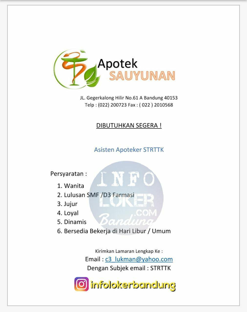 Lowongan Kerja Apotek Sauyunan Gegerkalong Bandung November 2017