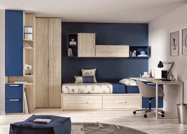 Dormitorio juvenil en madera y azul for Cuarto azul con gris