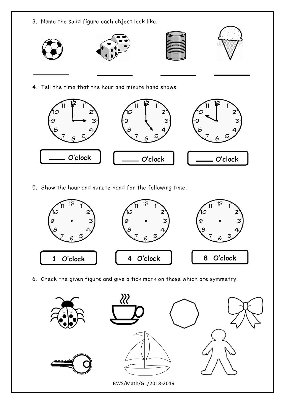 Birla World School Oman Homework For Grade 1 As On 23 04