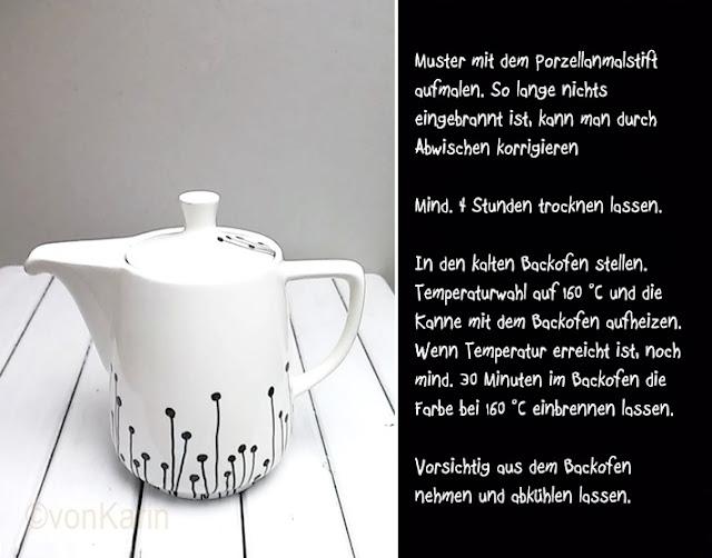 Anleitung zum Porzellanbemalen weiße Kanne