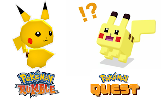 Pikachu Pokémon Rumble chibi super deformed vs. Pokémon Quest cube blocky Minecraft
