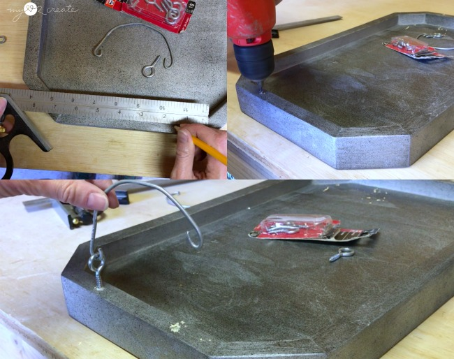 repurpose an old paint can handle to make smaller handles for a long octagon tray