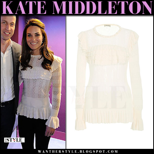 Kate Middleton in white cream lace ruffled top temperley london what she wore april 2017